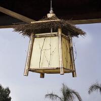 中式仿古创意竹编吊灯宫灯户外防水阳台装饰灯灯具