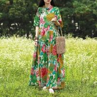 民族风连衣裙女装夏2020新款宽松复古中国风短袖绿色裙子棉麻长裙