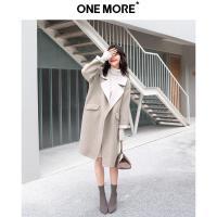 ONE MORE2018冬装新款阿尔巴卡双面毛呢外套女中长款呢驼色大衣