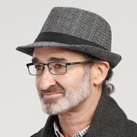 男士礼帽春秋老人帽子男冬时尚英伦秋冬中老年人爵士帽保暖爸爸帽