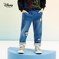 【3件3折券后价:80.9元】迪士尼男童牛仔长裤2021春装洋气童装儿童宝宝卡通米奇裤子潮