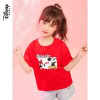 迪士尼女童短袖卡通奇趣针织儿童宝宝短袖T恤上衣