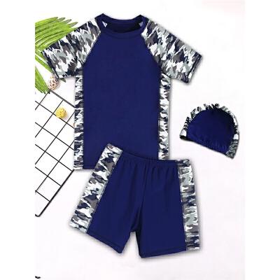 男孩分体泳衣中大童青少年大码男童泳衣套装游泳装12-15岁儿童泳衣