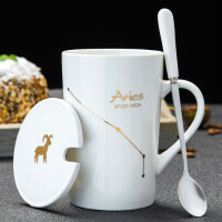 创意星座杯子陶瓷马克杯带盖勺办公室大容量水杯家用咖啡杯泡茶杯情人节礼物