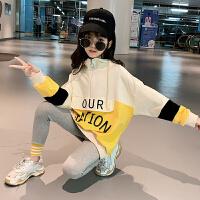 2019秋冬季新款童装儿童运动套装女童韩版加绒卫衣套装