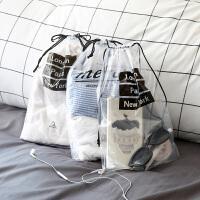 透明旅行收纳袋防水装鞋子的旅游女束口袋衣服抽绳袋子鞋袋 升级款10个(图案随机发)