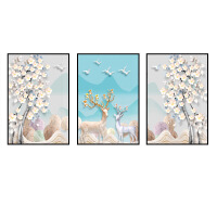 精美装饰画有框画北欧客厅装饰画现代简约沙发背景墙挂画壁画卧室餐厅画麋鹿