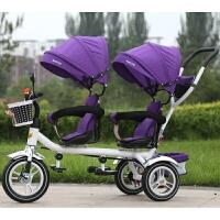 W 双胞胎儿童三轮车双人婴儿手推车宝宝脚踏车旋转椅1-7岁小孩童车