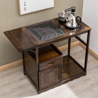 移动茶桌茶车阳台小茶几实木泡茶台简约现代家用乌金石茶盘茶水柜 组装
