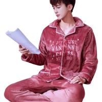 睡衣男加厚珊瑚绒春秋大码法兰绒纯色日式中年春款家居服长袖套装