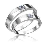 梦克拉 18K金钻石对戒 相遇 求婚戒男戒女戒
