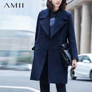 AMII[极简主义]冬西装翻领双排扣口袋羊毛毛呢外套11581438
