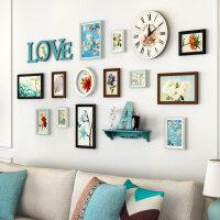 客厅照片墙 实木挂钟相框墙带钟表创意挂墙组合沙发背景墙相片墙春节礼物情人节礼物