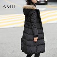 【1件7折/2件5折 再用券】AMII[极简主义]冬季新款大毛领连帽修身中长款加厚羽绒服女士