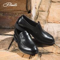 宾度男鞋新品商务休闲鞋子男士皮鞋英伦套脚鞋耐磨爸爸鞋