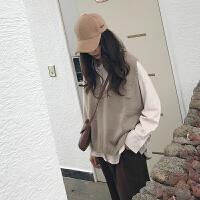 韩国学院风百搭可爱 口袋领针织背心马甲 女 均码