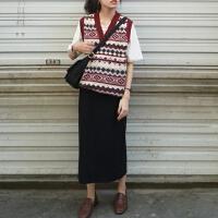 春季三件套韩国纯色T恤+学院风重工花纹针织马甲+松紧腰半身裙女