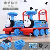 【玩具高铁】轨道车越诚托马斯小火车头套装电动小汽车儿童玩具男孩1-3岁可坐4 2辆【电动】+拖箱+16片弯轨 按住走,