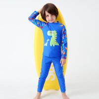 男中小童男孩游泳装男童长袖长裤分体可爱儿童泳衣