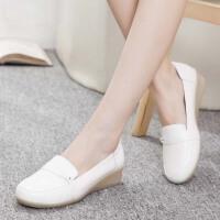 护士鞋夏季女新款浅口坡跟韩版小白鞋软底舒适医院工作鞋