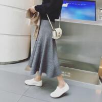 2018秋冬新款女装港味字大摆裙高腰针织半身裙毛线裙显瘦中长裙