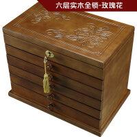 带锁收纳盒实木盒子 实木首饰盒带锁木质复古公主欧式首饰收纳盒饰品盒结婚礼物L+