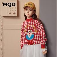 MQD童装女童加厚毛衣2019冬装新款儿童卡通印花韩版保暖针织衫潮
