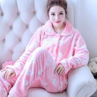 秋冬季珊瑚绒睡衣女士冬天加厚法兰绒长袖套装家居服韩版大码可爱