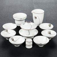 【优选】白瓷功夫茶具套装手绘陶瓷盖碗茶杯家用办公室整套茶壶礼盒装