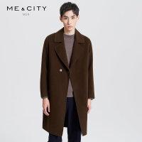 【2件1.5折价:299.9,可叠券】MECITY男装冬季羊毛男士中长款大衣宽松双面呢外套