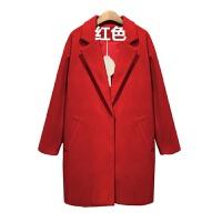2018舒服保暖呢子大衣女装秋冬中长款毛呢外套修身茧型宽松风衣潮 红色 加厚夹棉
