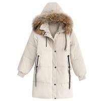 女冬季新韩版带毛领连帽中长款加厚保暖外套休闲时尚棉衣