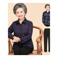 中老年女装妈妈装长袖衬衫老年人女60-70老人奶奶装春秋薄款外套 +裤子