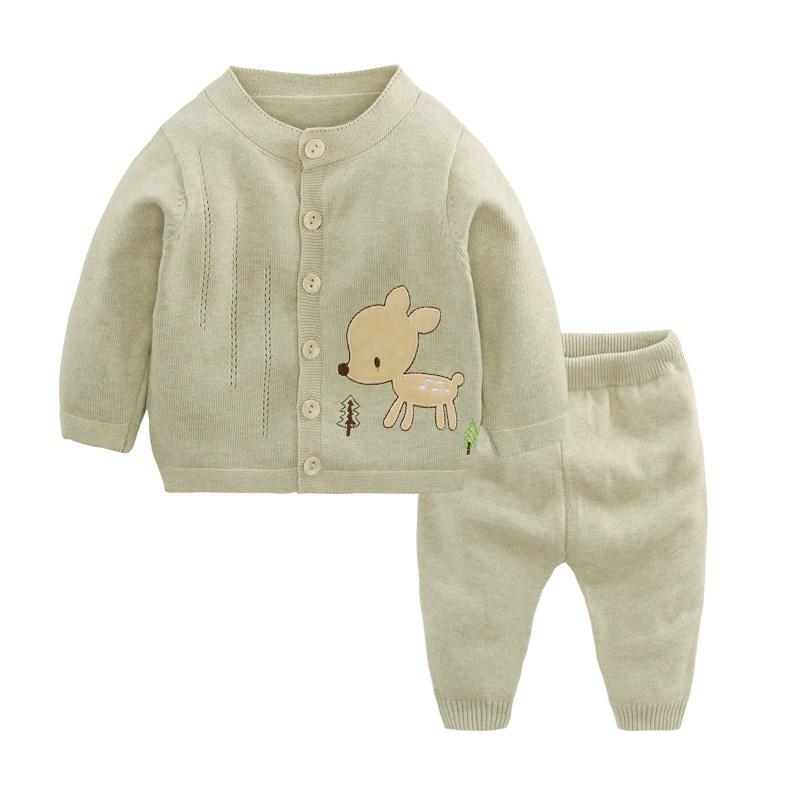 婴儿毛衣套装婴儿服毛衣套装开衫外套彩棉打底衫春秋宝宝针织衫衣服0-3-6-12月MYZQ77