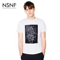 NSNF黑板图案植绒纯棉圆领男款T恤 男装2017短袖新款 修身圆领针织短袖