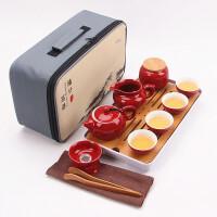 【优选】便携旅行茶具套装户外旅游车载茶盘整套陶瓷快客壶杯盖碗功夫茶具