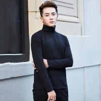 秋冬黑色高领打底衫男修身 青年纯色高领男t恤长袖上衣体恤秋衣