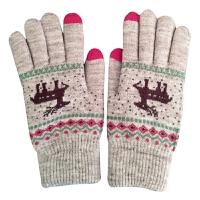 毛线手套女士秋冬季保暖加厚学生可爱加绒自行车骑行针织小鹿触屏 均码