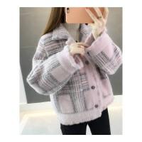 外套女毛衣开衫新款秋冬针织格子宽松慵懒风