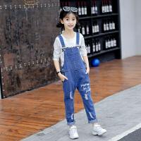 女童秋装套装2018新款儿童牛仔背带裤中大童洋气两件套长裤子韩版