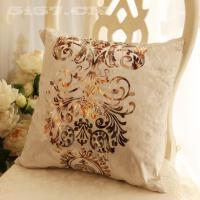 经典欧式现代时尚亮绒烫金床头靠垫沙发抱枕北欧流行短绒面料米色