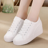 小白鞋女春季新款黑白色软皮面韩版厚底内增高休闲帆布鞋女鞋