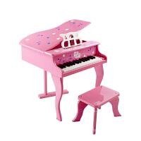 CBSKY儿童钢琴玩具30键木质钢琴翻盖可弹奏钢琴乐器早教钢琴迷你 粉红色 翻盖款