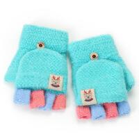 儿童手套冬季翻盖两用宝宝手套爱男女童毛线手套半指露指保暖加厚 浅 3-8岁