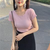 三木子快时尚女装~港味复古紧身木耳边多色百搭短袖T恤