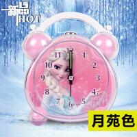 懒人多功能静音儿童闹钟音乐创意夜灯床头小闹钟学生卧室卡通可爱 粉红色 DF6107粉色冰雪