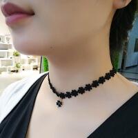 【好货】女人脖子上带的装饰品 脖子饰品锁骨链女韩式黑色颈带蕾丝四叶草项链颈饰脖链项圈女 图片色