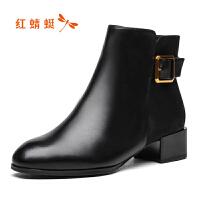 【红蜻蜓1件2折,领�宦�100再减20】红蜻蜓女靴冬季新款新款粗跟优雅职业中筒女靴高跟女靴子
