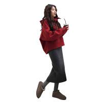 秋季套装女新款韩版小香风毛线裙秋冬时尚连帽卫衣裙子两件套 红色上衣+灰色裙子