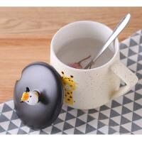 可爱陶瓷杯子女带盖勺马克杯创意个性潮水杯家用牛奶早餐咖啡杯